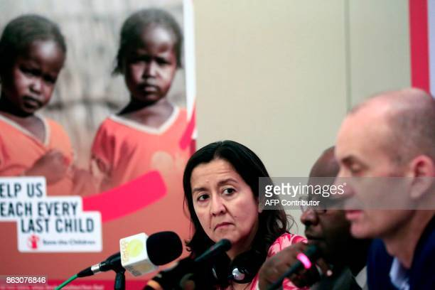Yanti Sorenio Save The Children's Vice President looks on during a press conference in the Sudanese capital Khartoum on October 19 accompanied by...