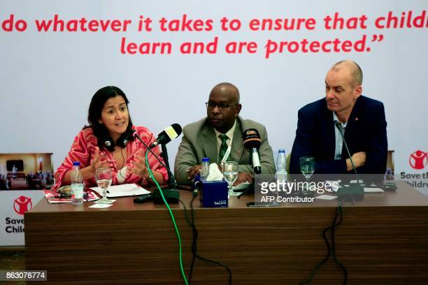 Yanti Sorenio Save The Children's Vice President speaks during a press conference in the Sudanese capital Khartoum on October 19 accompanied by David...