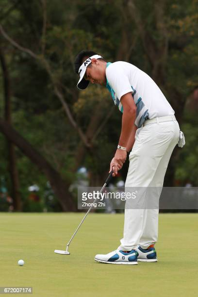 Yanwei Liu of China plays a shot during the final round of the Shenzhen International at Genzon Golf Club on April 23 2017 in Shenzhen China