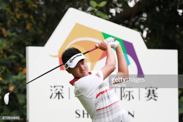 YanWei Liu of China plays a shot during the first round of the Shenzhen International at Genzon Golf Club on April 20 2017 in Shenzhen China