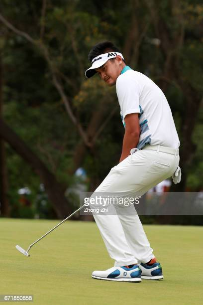 Yanwei Liu of China reacts to a shot during the final round of the Shenzhen International at Genzon Golf Club on April 22 2017 in Shenzhen China