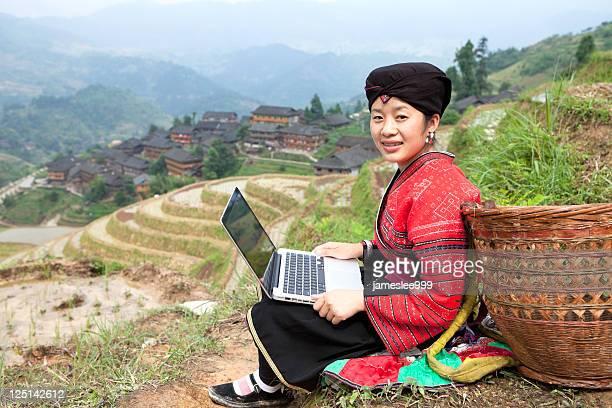 Yao Girl using Laptop