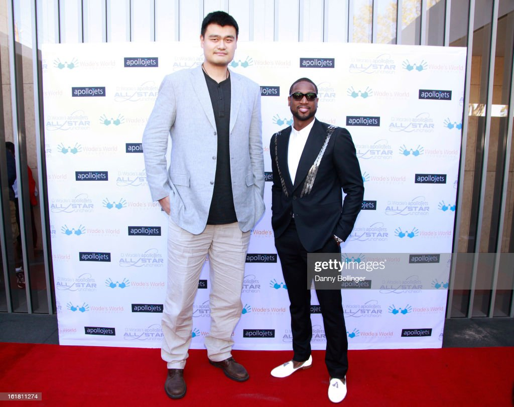<a gi-track='captionPersonalityLinkClicked' href=/galleries/search?phrase=Yao+Ming&family=editorial&specificpeople=201476 ng-click='$event.stopPropagation()'>Yao Ming</a> and <a gi-track='captionPersonalityLinkClicked' href=/galleries/search?phrase=Dwyane+Wade&family=editorial&specificpeople=201481 ng-click='$event.stopPropagation()'>Dwyane Wade</a> attend D. Wade's Apollo Jets All Star Luncheon on February 16, 2013 in Houston, Texas.