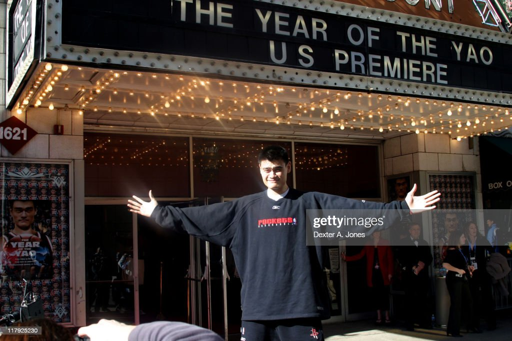 <a gi-track='captionPersonalityLinkClicked' href=/galleries/search?phrase=Yao+Ming&family=editorial&specificpeople=201476 ng-click='$event.stopPropagation()'>Yao Ming</a> during 'The Year of The Yao' U.S. Movie Premiere at Paramont Theater in Denver, Colorado, United States.