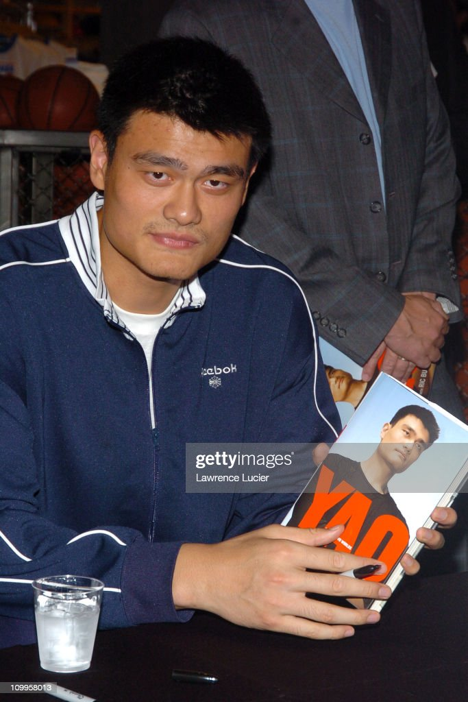 <a gi-track='captionPersonalityLinkClicked' href=/galleries/search?phrase=Yao+Ming&family=editorial&specificpeople=201476 ng-click='$event.stopPropagation()'>Yao Ming</a> during <a gi-track='captionPersonalityLinkClicked' href=/galleries/search?phrase=Yao+Ming&family=editorial&specificpeople=201476 ng-click='$event.stopPropagation()'>Yao Ming</a> Signs His New Book Yao: A Life in Two Worlds at NBA Store in New York City, New York, United States.