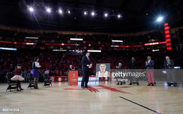 Yao Ming has his jersey number retired during half time of the game between the Houston Rockets and the Chicago Bulls at Toyota Center on February 3...