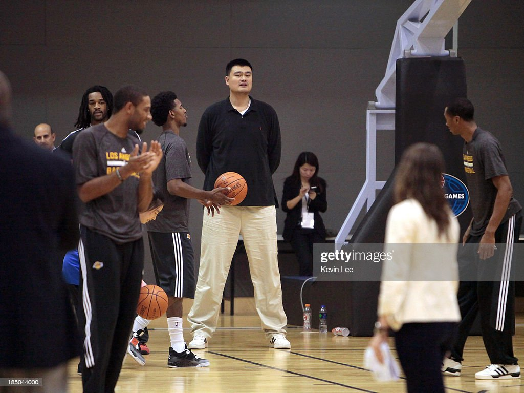 <a gi-track='captionPersonalityLinkClicked' href=/galleries/search?phrase=Yao+Ming&family=editorial&specificpeople=201476 ng-click='$event.stopPropagation()'>Yao Ming</a> looks on during basketball practice at NBA Fan Appreciation Day on October 17, 2013 in Shanghai, China.