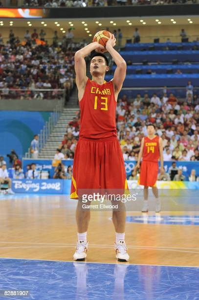 Yao Ming of China shots the ball against Lithuania during the 2008 Beijing Summer Olympics on August 20 2008 at the Beijing Olympic Basketball...