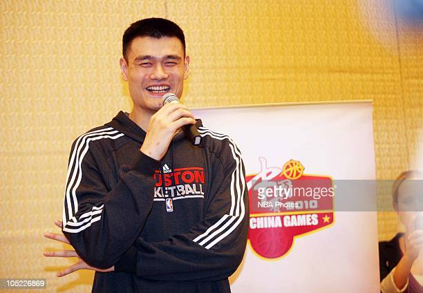 Yao Ming of Houston Rockets attends the press conference before 10/11NBA China Match Houston Rockets VS New Jersey Nets at RitzCarlton Hotel on...