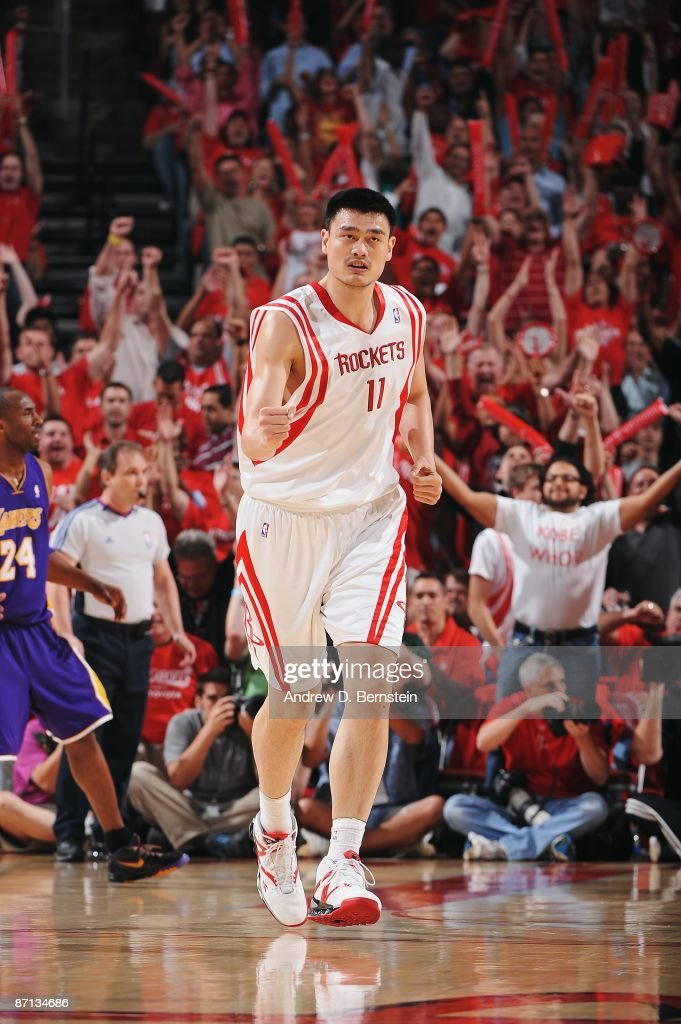 Yao Ming of the Houston Rockets runs down the court in Game Three of the Western Conference Semifinals against the Los Angeles Lakers during the 2009...