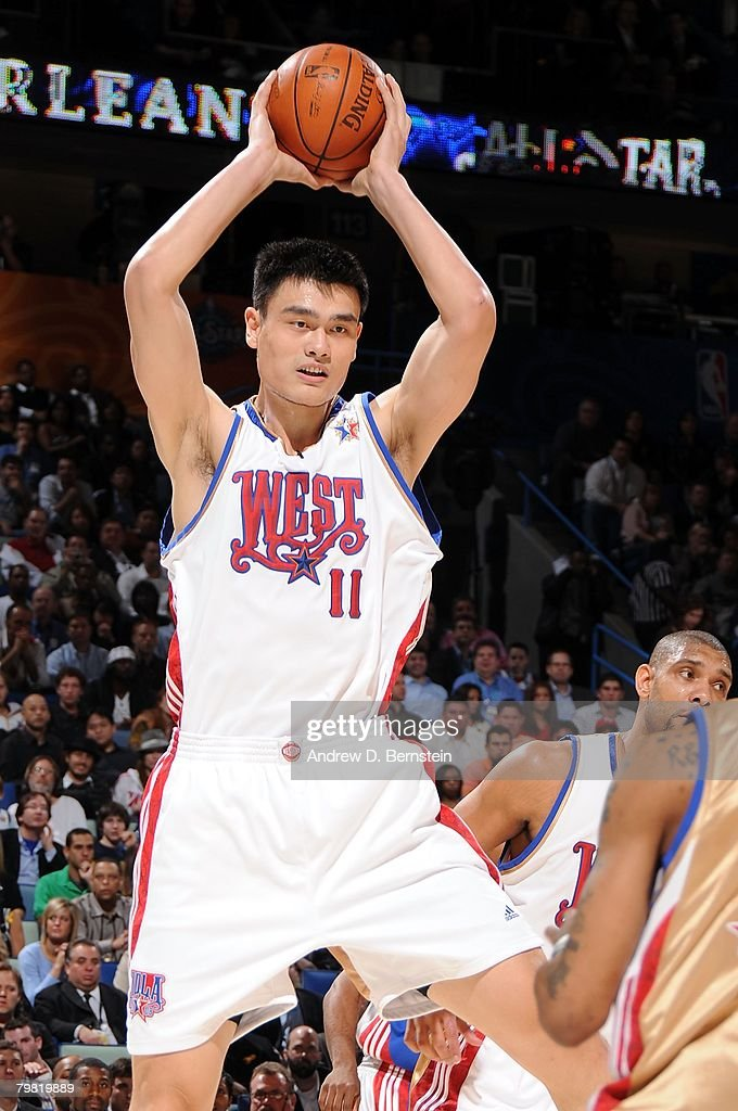 Yao Ming #11 of the Western Conference grabs a rebound during the 2008 NBA All-Star Game part of 2008 NBA All-Star Weekend at the New Orleans Arena on February 17, 2008 in New Orleans, Louisiana.
