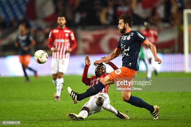 Yao N Guessan of Nancy and Mathieu Deplagne of Montpellier during the French Ligue 1 match between Montpellier and Nancy at Stade de la Mosson on...