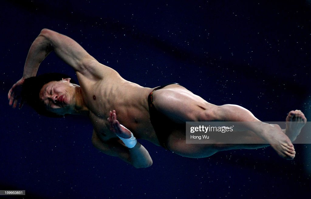 Yao Wang of China competes in the Men's 10m Platform Diving Final on Day 2 of the 2013 China Diving Champions Cup at Jinan Olympic Sports Center on January 24, 2013 in Jinan, China.