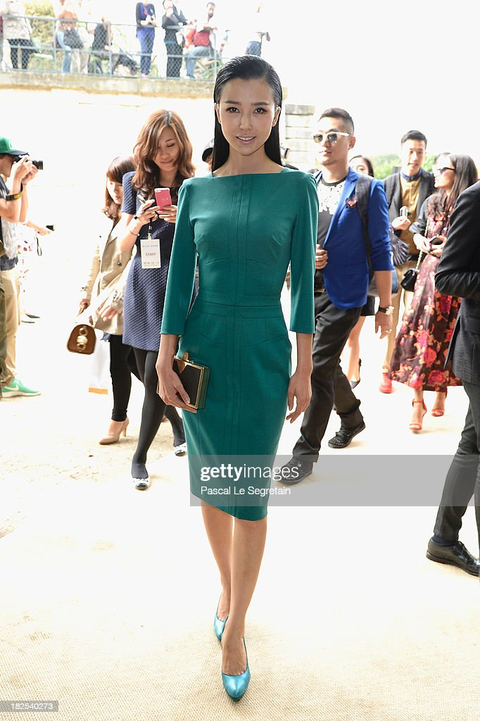 Yao Xingtong attends the Elie Saab show as part of the Paris Fashion Week Womenswear Spring/Summer 2014 at Espace Ephemere Tuileries on September 30, 2013 in Paris, France.