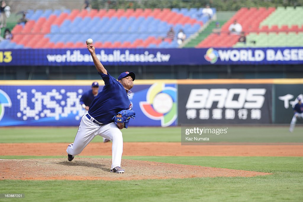 Yao-Lin Wang #22 of Team Chinese Taipei pitches during the World Baseball Classic exhibition game against the NC Dinos at Taichung Intercontinental Baseball Stadium on Thursday, February 28, 2013 in Taichung, Tawain.