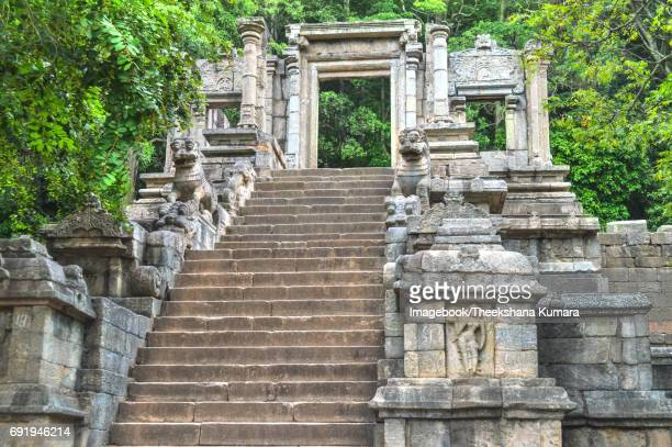 Yapahuwa's ornamental carved staircase which once led to the ledge holding the royal palace