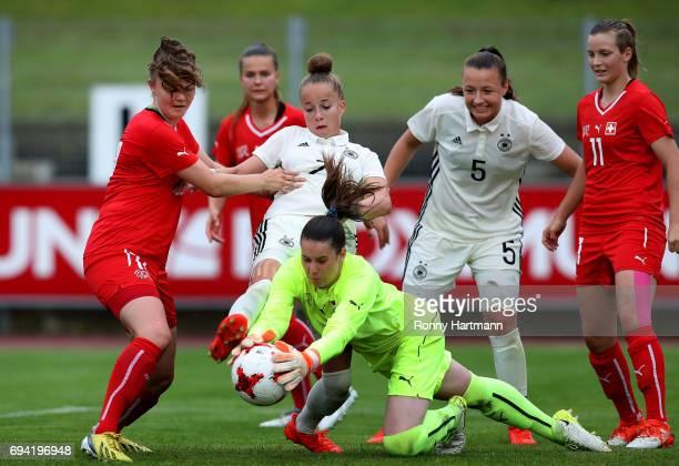 Yara Hofmann of Switzerland Giulia Gwinn of Germany goalkeeper Nadja Furrer of Switzerland Tanja Pawollek of Germany and Nathalie Lienhard of...