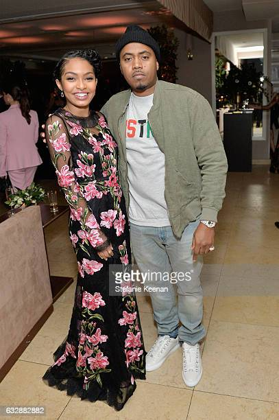 Yara Shahidi and Nas attend Harper's BAZAAR celebration of the 150 Most Fashionable Women presented by TUMI in partnership with American Express La...