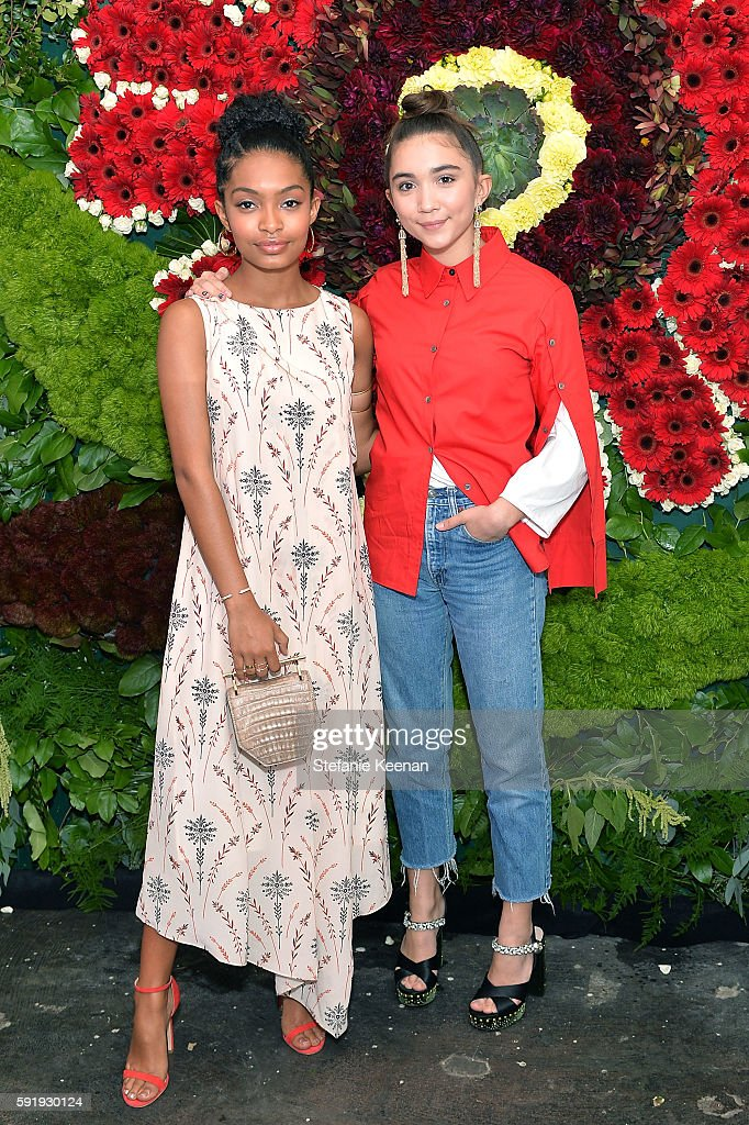 Yara Shahidi and Rowan Blanchard attend Just One Eye x Creatures of the Wind Collaboration Dinner at Just One Eye on August 18 2016 in Los Angeles...