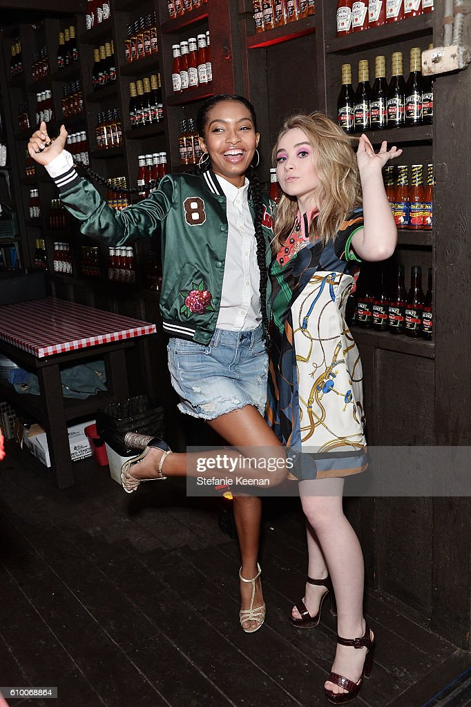 Yara Shahidi and Sabrina Carpenter attend 14th Annual Teen Vogue Young Hollywood with American Eagle Outfitters on September 23, 2016 in Malibu, California.