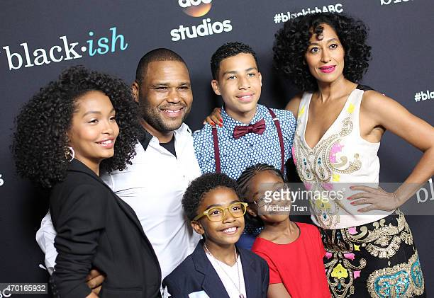 Yara Shahidi Anthony Anderson Marcus Scribner Tracee Ellis Ross Marsai Martin and Miles Brown arrive at the 'Blackish' event held at Pacific Design...