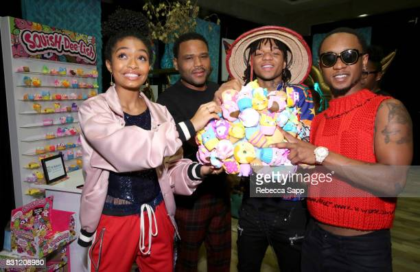 Yara Shahidi Anthony Anderson Swae Lee and Slim Jimmy of Rae Sremmurd at Backstage Creations Celebrity Retreat at Teen Choice 2017 Day 2 at Galen...