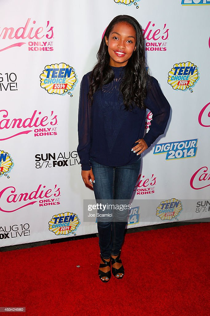 <a gi-track='captionPersonalityLinkClicked' href=/galleries/search?phrase=Yara+Shahidi&family=editorial&specificpeople=4859417 ng-click='$event.stopPropagation()'>Yara Shahidi</a> attends DigiTour Hosts Teen Choice 2014 Awards Official Pre-Party at Gibson Guitar Entertainment Relations Showroom on August 9, 2014 in Beverly Hills, California.