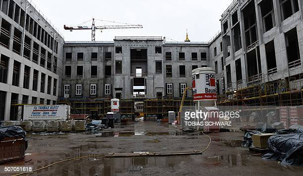 A yard is pictured at the construction site of the 'Berliner Stadtschloss' in Berlin Jauary 27 2016 From 2019 the Palace will be the home of the...