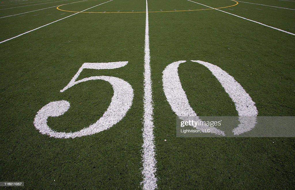 50 yard line football field : Stock Photo