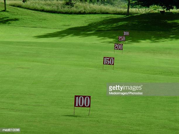 Yard markers on driving range