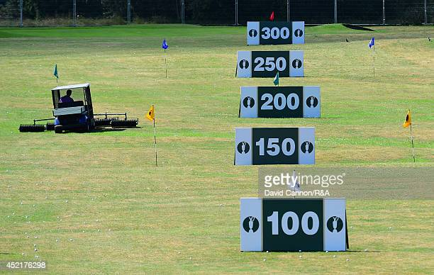 Yardage markers are seen on the practice grounds prior to the start of The 143rd Open Championship at Royal Liverpool on July 15 2014 in Hoylake...