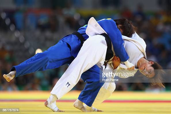 Yarden Gerbi of Israel and Miku Tashiro of Japan compete during the Women's 63kg bronze medal a bout on Day 4 of the Rio 2016 Olympic Games at the...