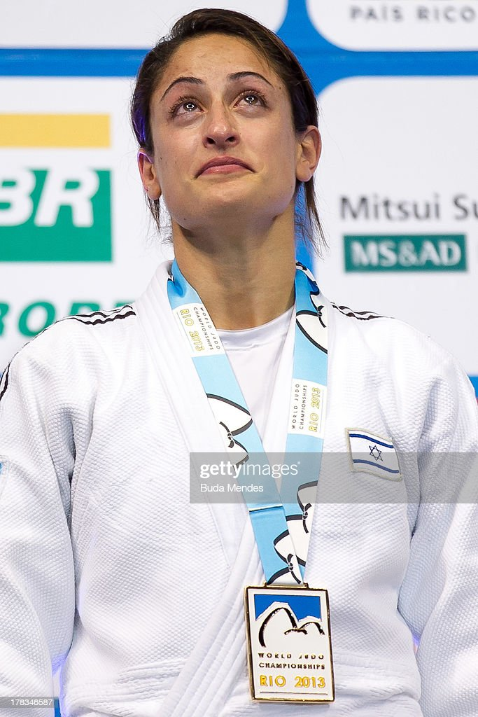 Yarden Gerbi of Israel celebrates a gold medal in the final -63 kg category during the World Judo Championships at Gymnasium Maracanazinho on August 29, 2013 in Rio de Janeiro, Brazil.