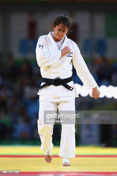 Yarden Gerbi of Israel celebrates victory over Miku Tashiro of Japan during the Women's 63kg bronze medal a bout on Day 4 of the Rio 2016 Olympic...