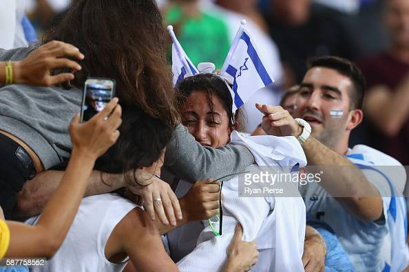 Yarden Gerbi of Israel celebrates victory over Miku Tashiro of Japan with friends and family following the Women's 63kg bronze medal a bout on Day 4...