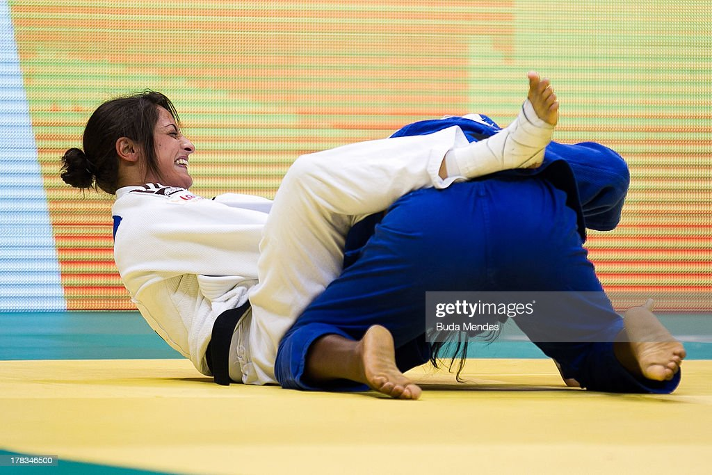 Yarden Gerbi (white) of Israel fights against Clarisse Agbegnenou of France, in the final -63 kg category during the World Judo Championships at Gymnasium Maracanazinho on August 29, 2013 in Rio de Janeiro, Brazil.