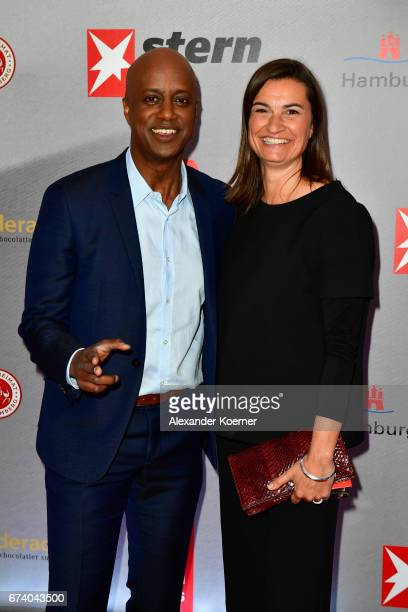 Yared Dibaba and Inka Schneider attends the Nannen Award 2017 on April 27 2017 in Hamburg Germany