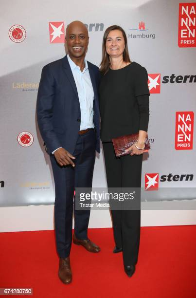 Yared Dibaba and Inka Schneider during the Henri Nannen Award red carpet arrivals on April 27 2017 in Hamburg Germany