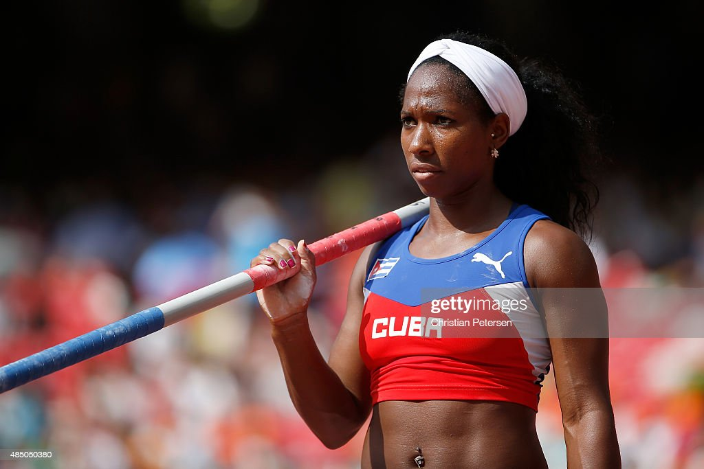 <a gi-track='captionPersonalityLinkClicked' href=/galleries/search?phrase=Yarisley+Silva&family=editorial&specificpeople=4425121 ng-click='$event.stopPropagation()'>Yarisley Silva</a> of Cuba competes in the Women's Pole Vault qualification during day three of the 15th IAAF World Athletics Championships Beijing 2015 at Beijing National Stadium on August 24, 2015 in Beijing, China.