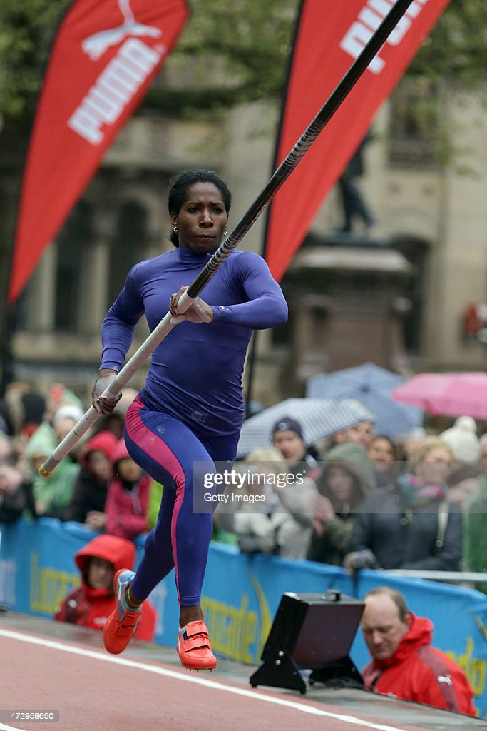 <a gi-track='captionPersonalityLinkClicked' href=/galleries/search?phrase=Yarisley+Silva&family=editorial&specificpeople=4425121 ng-click='$event.stopPropagation()'>Yarisley Silva</a> of Cuba competes in the Women's pole vault during the Great City Games on May 9, 2015 in Manchester, England.