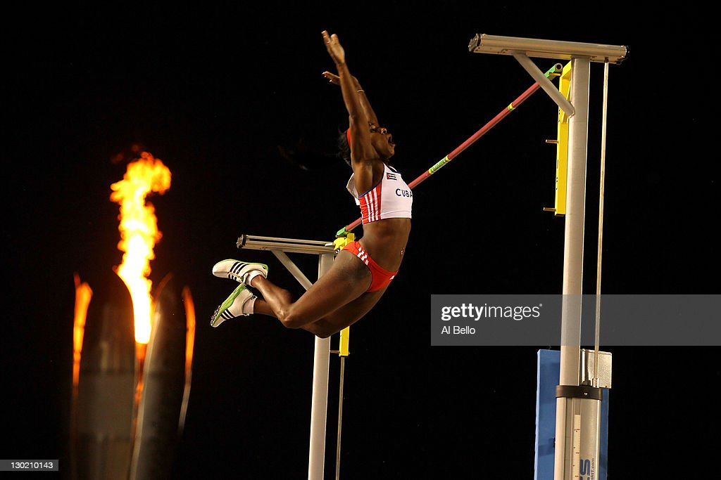 <a gi-track='captionPersonalityLinkClicked' href=/galleries/search?phrase=Yarisley+Silva&family=editorial&specificpeople=4425121 ng-click='$event.stopPropagation()'>Yarisley Silva</a> of Cuba competes in the women's pole vault final during Day 10 of the XVI Pan American Games at Telcel Athletics Stadium on October 24, 2011 in Guadalajara, Mexico.