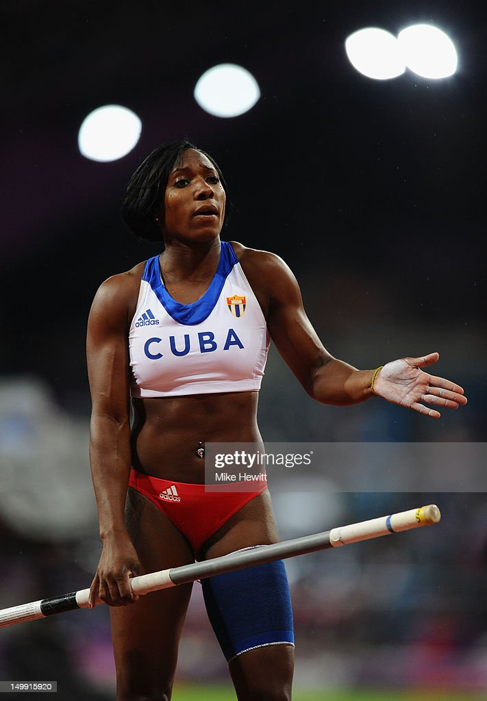 <a gi-track='captionPersonalityLinkClicked' href=/galleries/search?phrase=Yarisley+Silva&family=editorial&specificpeople=4425121 ng-click='$event.stopPropagation()'>Yarisley Silva</a> of Cuba prepares to vault Women's Pole Vault final on Day 10 of the London 2012 Olympic Games at the Olympic Stadium on August 6, 2012 in London, England.