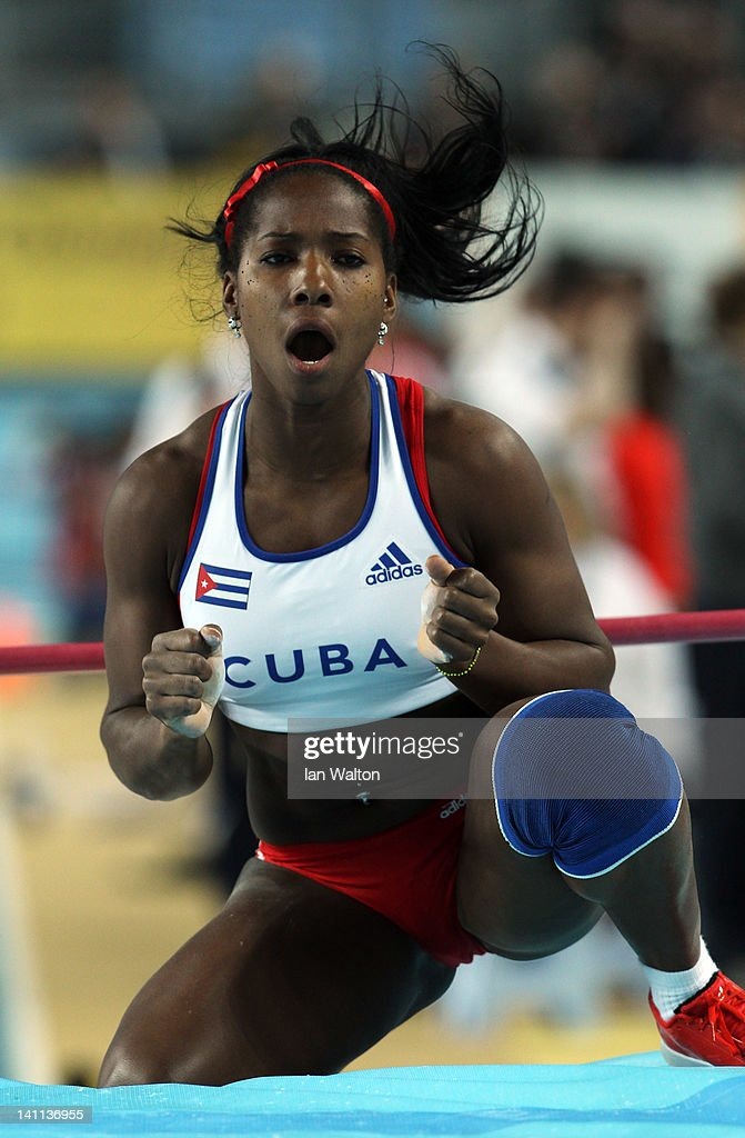 <a gi-track='captionPersonalityLinkClicked' href=/galleries/search?phrase=Yarisley+Silva&family=editorial&specificpeople=4425121 ng-click='$event.stopPropagation()'>Yarisley Silva</a> of Cuba reacts as she competes in the Women's Pole Vault Final during day three of the 14th IAAF World Indoor Championships at the Atakoy Athletics Arena on March 11, 2012 in Istanbul, Turkey.
