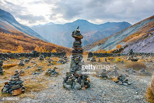 Yarlu in the valley in the Altai autumn. Russia : Stock Photo