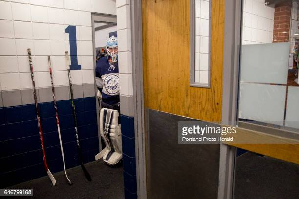 Yarmouth junior Dan Latham at the beginning of the third period during the Class B South quarterfinal against Cape Elizabeth Yarmouth beat Cape...