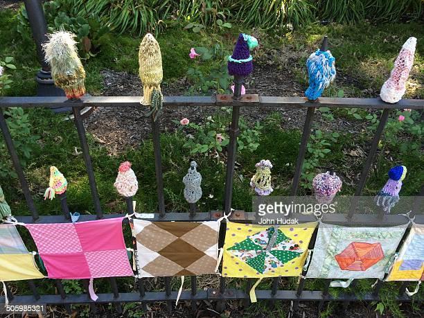 Yarn bombing on an iron fence in Oberlin Ohio