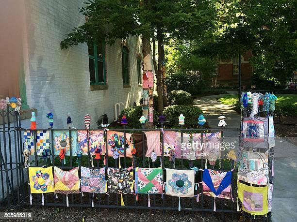 Yarn bombing on iron fence in Oberlin Ohio