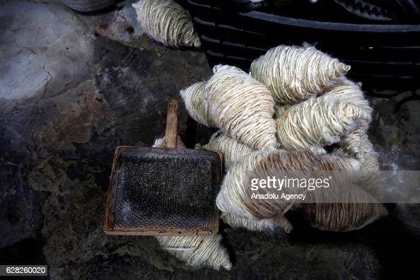 Yarns are seen at a carpet weaving workshop at Al Fakeha Village of Beqaa Lebanon on November 30 2016 Carpet weaving craft that exapand in Lebanon...