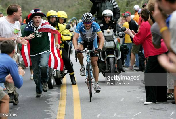 Yaroslav Popovych of the Ukraine and riding for Discovery Channel attacks on the climb of Brasstown Bald during Stage Five of the 2006 Tour de...