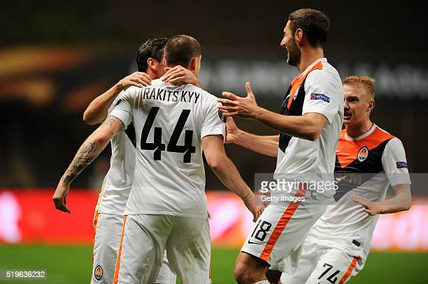 Yaroslav Rakitskyy of Shakhtar Donetsk celebrates a goal with team mates during the UEFA Europa League Quarter Final first leg match between SC Braga...